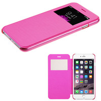Book-Style View-Flip with Frosted Tray iPhone 6 Plus Case - Hot Pink