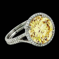3 carat yellow canary diamond solitaire with accents anniversary ring