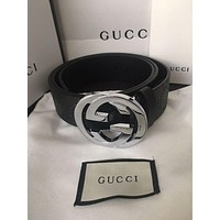 GUCCI counter men and women models double G embossed belt belt F/A