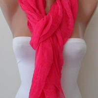 Gift  - Lightweight - Tulle Scarf - Pink Scarf - Tulle Fabric - Seamless Shawl