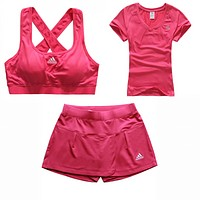 Trendsetter Adidas Gym Sport Yoga Embroidery Vest Tank Top Cami Shorts Set Three-Piece Sportswear