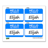 Elijah Hello My Name Is - Sheet of 4 Stickers