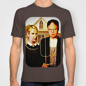 Dwight Schrute & Angela Martin (The Office: American Gothic) T-shirt by Silvio Ledbetter