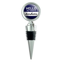 Andres Hello My Name Is Wine Bottle Stopper