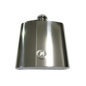 Silver Toned Etched Oval Cat Head 6oz Flask
