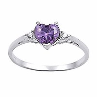 Amy: Heart-cut Simulated Amethyst and Ice on Fire CZ Promise Friendship Ring Silver, 3136