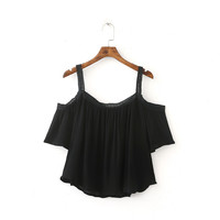 women sexy off the shoulder short sleeve blouses slash neck ladies fashion cut out short shirts summer casual tops DT590