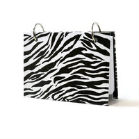 3 x 5 index card binder with a black and white zebra animal print, use for recipe storage or writing journal