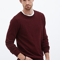 Heathered Ribbed Knit Sweater