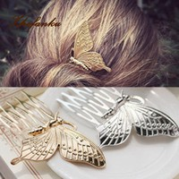 1PC Fashion Elegance Style Hairpin Women Girls Alloy Butterfly Hair Comb Headwear Summer Made Gadgets NEW
