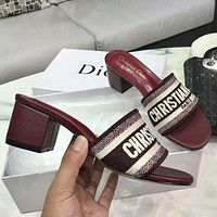 DIOR Summer Fashion Women Casual Print Sandals High Heels Shoes Burgundy 5.5 CM