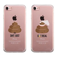 Poop Shit Just & Got Real Couples Matching Clear Phone Case