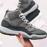 AIR JORDAN 11 AJ11 Tide brand men's retro cushion sneakers Grey