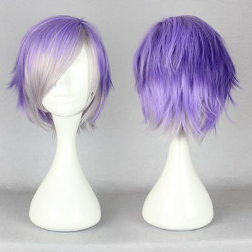 NEW ARRIVAL 32cm Diabolik Lovers wigs short rmulti color cosplay wigs,Colorful Candy Colored synthetic Hair Extension Hair piece 1pcs WIG-199B