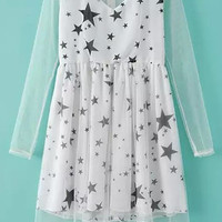 White Long Sleeve Mesh Stars Print High Waist A-Line Pleated Mini Dress