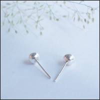 4 mm Large Silver Ball Stud Earring - 92.5% Sterling Silver Ears Post Simple Minimalist Body Jewelry - Unisex Gift for Him and Her