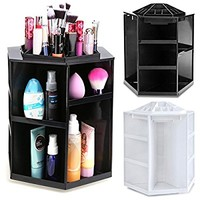 Homdox Makeup Organizer Tabletop 360°Rotating Cosmetics Storage Sturdy Case