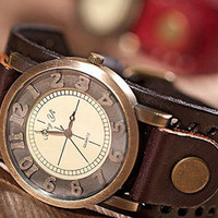 Fashion leather strap watch restoring ancient ways The girl decorative table Female table