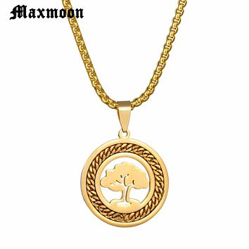 Maxmoon 2018 Stainless Steel Tree of Life Necklaces Tree Bohemian Necklace & pendants Jewellery For Women or Men Gift collane