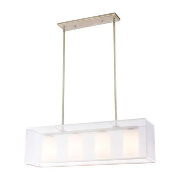 Diffusion 4-Light Linear Chandelier in Aged Silver with Frosted Glass Inside Silver Organza Shade