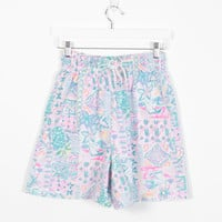 Vintage 80s Shorts High Waisted Shorts Pastel Abstract Print New Wave Saved By The Bell Pockets Surfer Shorts 1980s Mom Shorts S M Medium