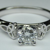 Engagement Ring - Round Diamond Celtic Knot Solitaire Engagement Ring in 14K White Gold - ES644