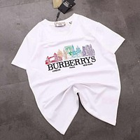 BURBERRY Newest Popular Women Men Print Round Collar T-Shirt Top Tee White