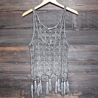 West Coast Crochet Tank with Tassels in Brown/Grey