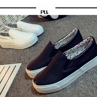 Fashion All-match Casual Female PU Thick Bottom Small White Shoes Flats Shoes Single Shoes Student Shoes