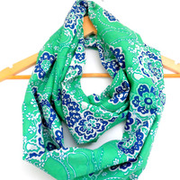 Blue and Green Paisley Light Cotton Infinity Scarf- Double Wrap, Long, Different Ways to Wear, Trendy and Modern