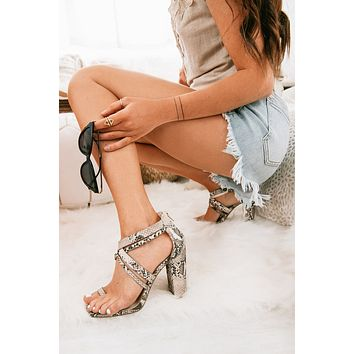 Made You Look Strappy Heels (Snake)