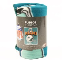 "Miami Dolphins Fleece Blanket (Reflecting Helmet, 50"" x 60"")"