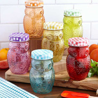 Owl Jars Glass Storage Country Kitchen Metal Lids Dry Goods