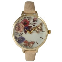 Olivia Pratt Women's Leather Vintage Style Flowers and Butterflies Watch | Overstock.com Shopping - The Best Deals on More Brands Women's Watches