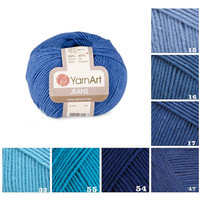 YarnArt JEANS, blue pattern yarn, 55% cotton yarn, crochet cotton yarn knitting supplies, scarf yarn, sock yarn, sweater yarn, knit yarn