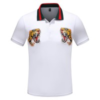 GUCCI Summer Fashion Tiger Head Embroidery Lapel T-Shirt Top Tee White