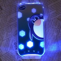 SimplePower Cute Cartoon Snow Penguin Pattern Sense Flash Light LED Color Changing Hard Case Cover + Free Screen Protector + Free Stylus Pen For Apple iPhone 4 4S 4G:Amazon:Cell Phones & Accessories