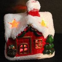 Light up Christmas Snow House Ornament, Batteries Included!
