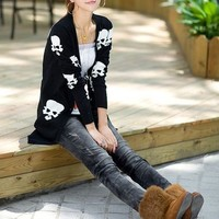 Black Cotton Skull Skeleton Punk Long Sleeve Knitted Cardigan Sweater Tops