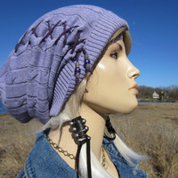 Women's Hats Knit Slouchy Beanie Long Back Tam Cotton Lilac Purple Cable Knit Beanie with Leather Lace Corset Ties  A1228