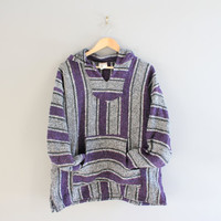 Purple Baja Pullover DRUG RUG Made in Mexico Mexican Sweater Oversized Vintage Unisex Size M - L