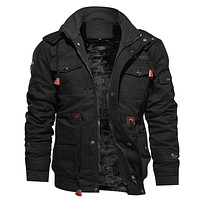 Men's Winter Jackets Thick Hooded Coat Plus Size Military Pilot Jacket Outerwear Air Force Jacket  M-4XL