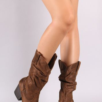 Bamboo Slouchy Almond Toe Chunky Heel Cowgirl Boot