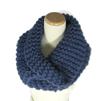 Outlander Claire Inspired Cowl, Olympia Blue Cowl,  Bulky Cowl,  Hand Knit Cowl, Circle Scarf, Women, Winter, Bulky Cowl,