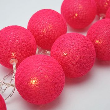 BLOWOUT 5.5 FT | 10 LED Battery Operated Fuchsia / Hot Pink Round Cotton Ball String Lights With Timer