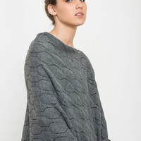 Gray poncho, women knitted jacket, grey cardigan Feminine Shawl