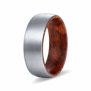 KALIF Men's Domed Tungsten Carbide Ring Brushed w/ Snake Wood Sleeve - 8MM