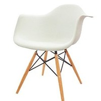 Modern Set of 2 EAMES Style Armchair Natural Wood Legs in Color White, Black and Red (White)