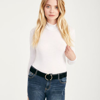 Long Sleeve Mock Neck Top | Wet Seal