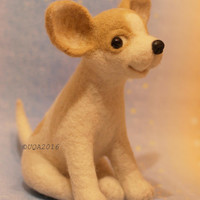 Chihuhua needle felted toy, needle felted dog figurine, dog soft sculpture from pure wool